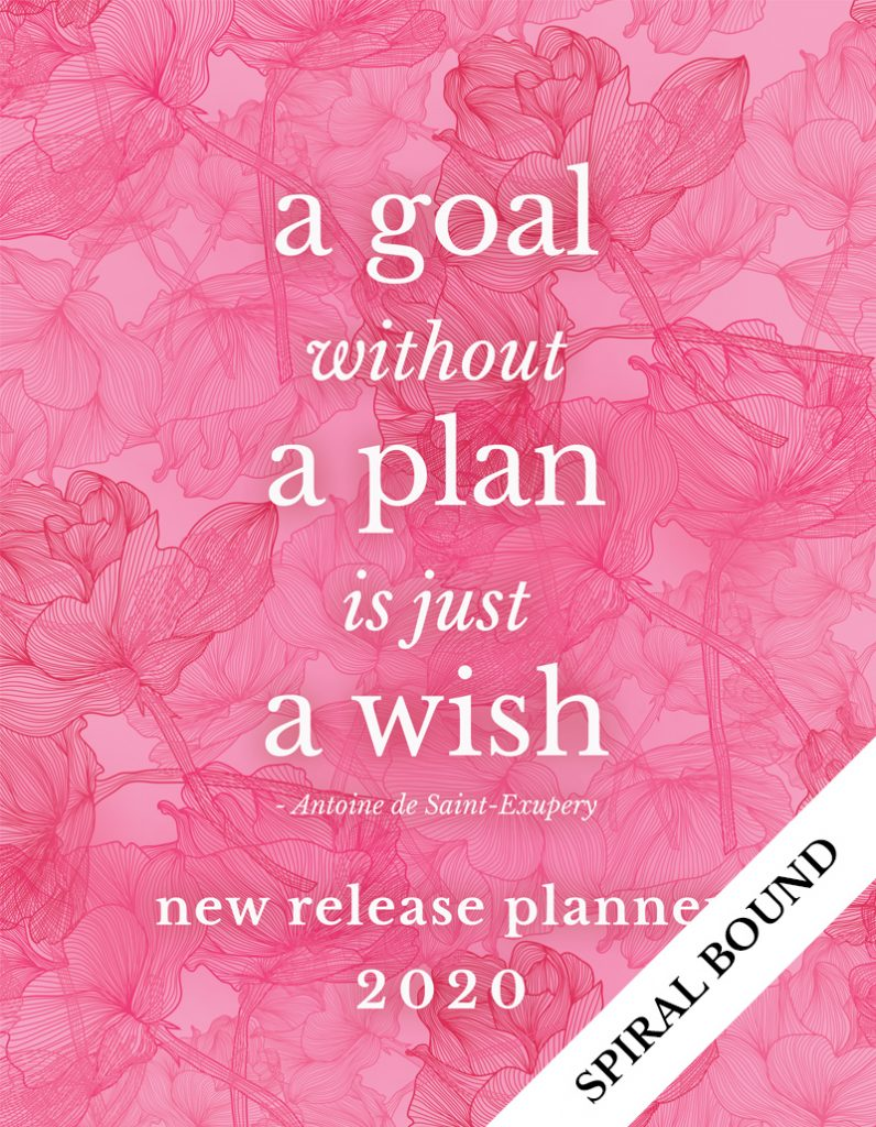 Love Kissed New Release Planner Author Planner 2020 - Pink Flowers - Spiral Bound
