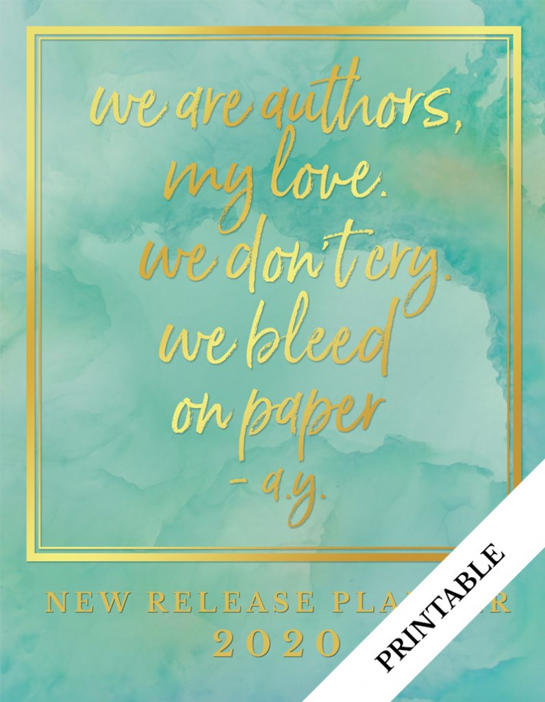 Love Kissed New Release Planner Author Planner 2020 - Teal - Printable